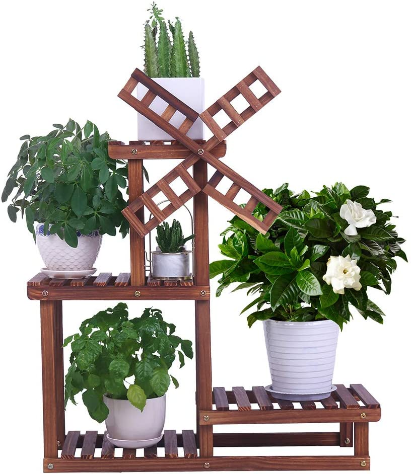 """COOGOU Wood Plant Stand Indoor Outdoor 4 Tiers Plant Shelf Flower Pot Holder Display Rack Holder (Windmill Design,Space Saving,27.6"""",Small)"""
