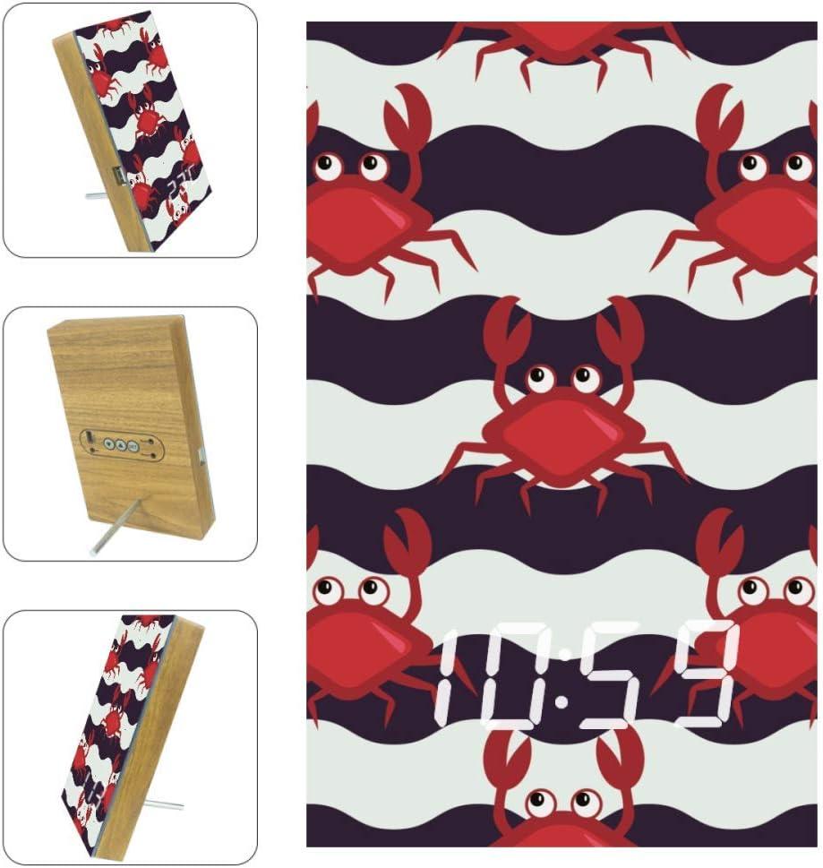 TIZORAX R/éveils Crabe en Chevron LED Horloges Num/ériques pour Bureau Cuisine Salon Chambre Bureau avec Chargement USB