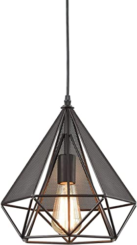 YOBO Lighting Polygon Loft Art Deco Vintage Wire Pendant Kitchen Chandeliers, Oil Rubbed Bronze