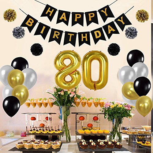 Yoart 80th Birthday Decorations Birthday Party Supplies For