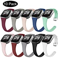 OenFoto Sport Band Compatible Fitbit Versa &Versa Lite Edition, Soft Silicone Slim Thin Narrow Small Replacement Wristband Strap for Fitbit Versa Smart Watch, Women Men, Large Small
