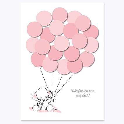 Cartolina Di Auguri Per Baby Shower Con Elefante E Palloncini Da