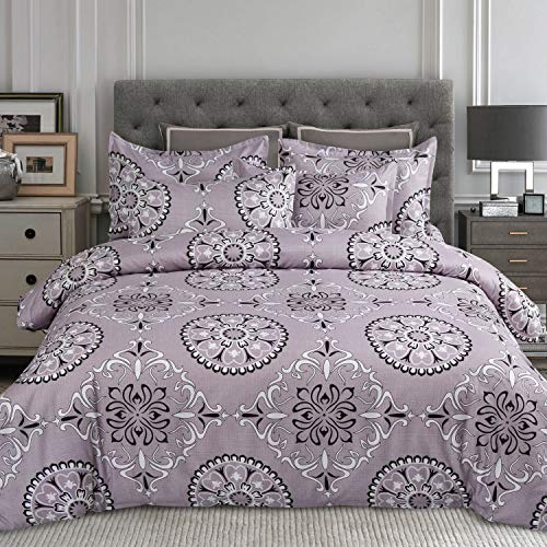Black / Paisley Purple - MIMONG Duvet Cover Set with Zipper Closure,Grey Purple&Black Paisley Ethnic Pattern Floral Print Design,Soft Microfiber Bedding,Queen/Full Size(90