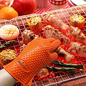 BBQ Grilling Cooking Gloves, 425°F Heat Resistant Kitchen Silicone Oven Mitts Baking Gloves, FDA Certified, Barbecue Gloves for Men Women, 1 Pair, Orange Silicone Insulated
