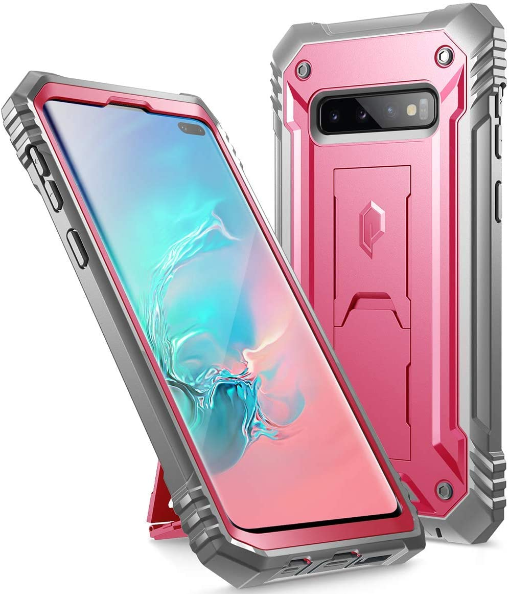 Poetic Galaxy S10 Plus Rugged Case with Kickstand, Heavy Duty Military Grade Full Body Cover, Without Built-in-Screen Protector, Revolution Series, for Samsung Galaxy S10+ Plus 6.4 Inch (2019), Pink