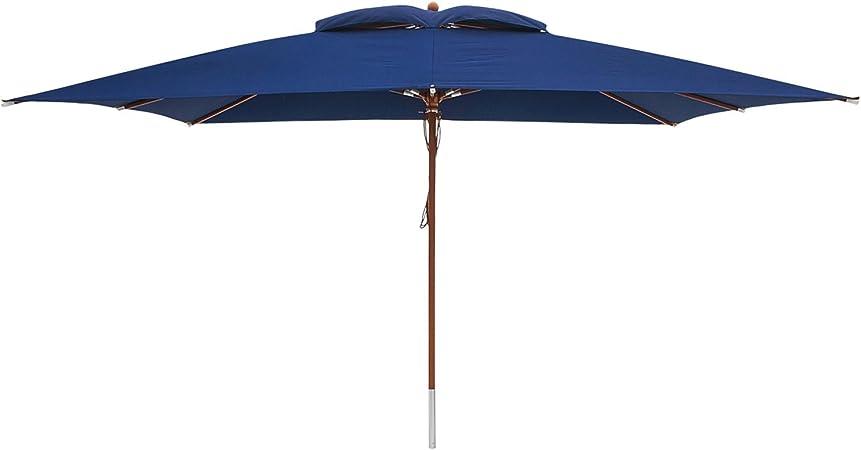 anndora Sonnenschirm Gartenschirm blau 3x3m eckig Winddach Himmelblau Garten