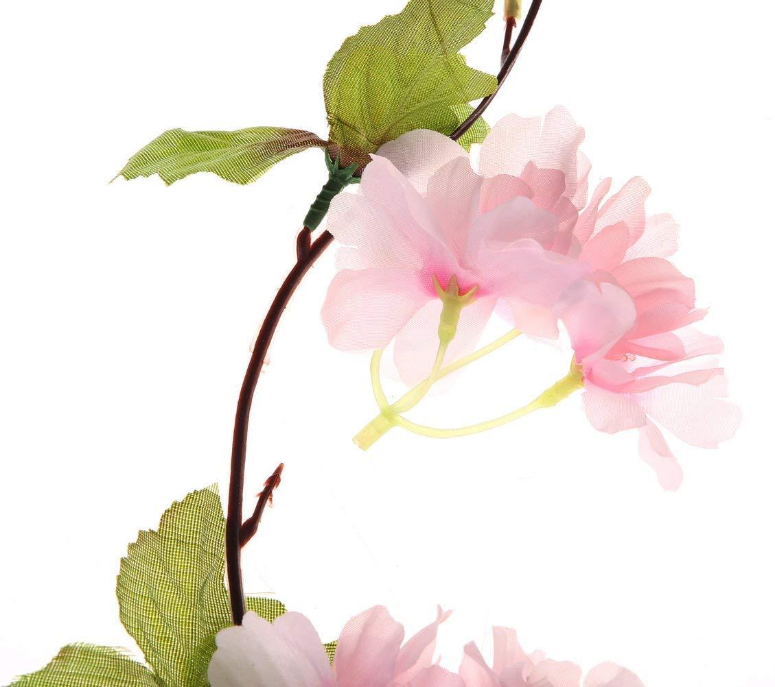 12/Pezzi 25,6/m finte Foglie di edera Artificiale edera Verde Decor Ecopelle Verde Hanging pianta di Vite per Parete Party Wedding Room Home Cucina all Interno e all Esterno Pink Cherry Blossom