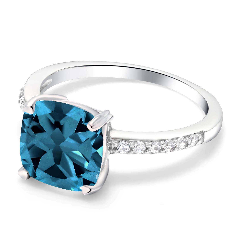 Gem Stone King 925 Sterling Silver London Blue Topaz Women s Ring 2.86 Ct Cushion Cut Gemstone Birthstone Available 5,6,7,8,9