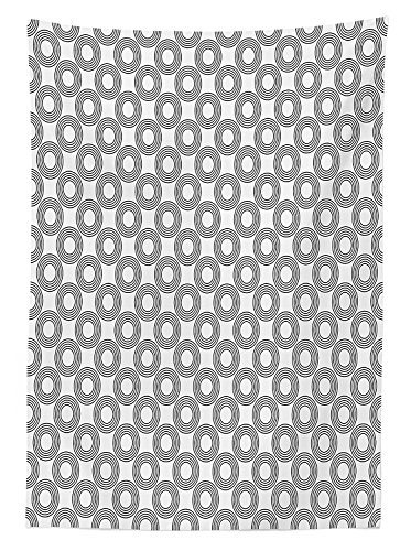 Geometric Circle Decor Tablecloth Vinyl Records Inspired Concentric Rings with Curve Grids Art Print Dining Room Kitchen Rectangular Table Cover Black (Target Vinyl Tablecloth)