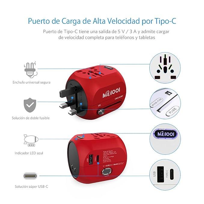 Adaptador Enchufe, Milool Cargador USB + Tipo C Puertos, Adaptadores corriente de Viajes Universal Enchufe con Dos Seguridad de Fusibles para EEUU,AU,Asia ...