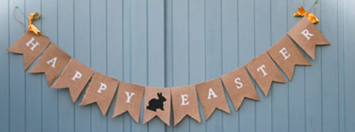 Rustic Happy Easter Bunting With Bunny Icon Made
