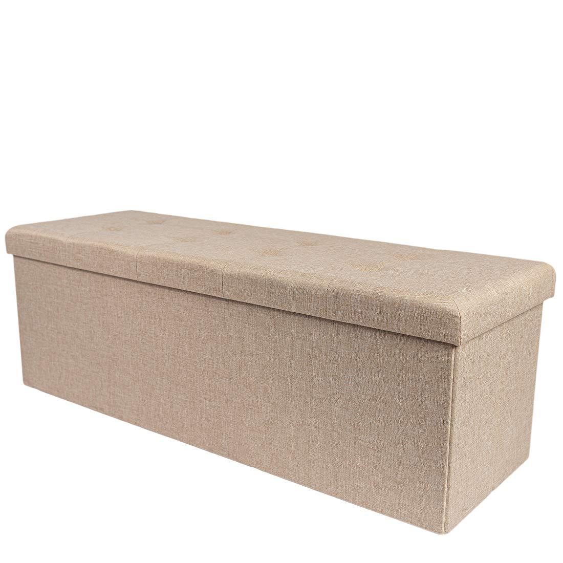 Theo&Cleo Leinen Faltbarer Sitzbank,Sitztruhe,Sitzhocker mit  stauraum,Sitzkasten Fußhocker für Büro Wohnzimmer Schlafzimmer,20 x 20 x  20cm(Beige)