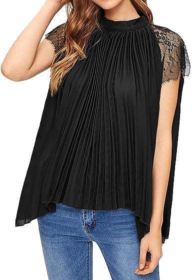 wyxhkj-Camisetas Mujer Camisas Manga Corta, Manga Corta Costura De Encaje Color Sólido Plisada De Gasa Tops Blusas Suelta Informales Verano: Amazon.es: Ropa y accesorios