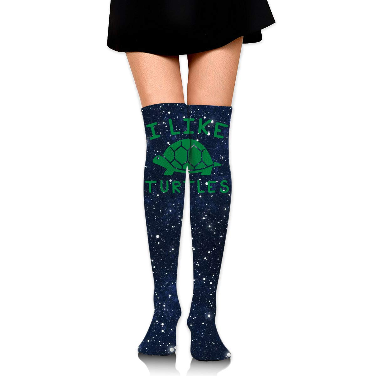 One Size Girls Womens I Like Turtles Over Knee Thigh High Stockings Fashion Socks