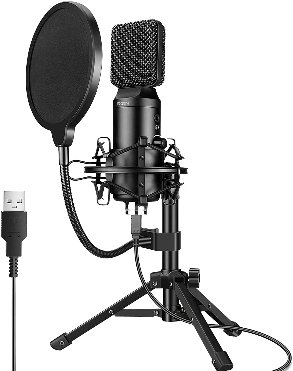 USB Condenser Microphones for PC [Headphone Monitor Output], Recording Micophone and Shock Mount for Livestream, Gaming, YouTube, Podcast, Compatible with Computer/MAC/Laptop, by IDoon