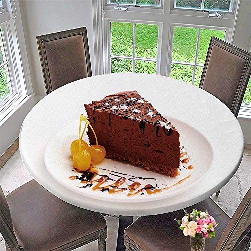 PINAFORE HOME Premium Tablecloth Slice of Chocolate Cream Cake on a Plate with Everyday Use 47.5