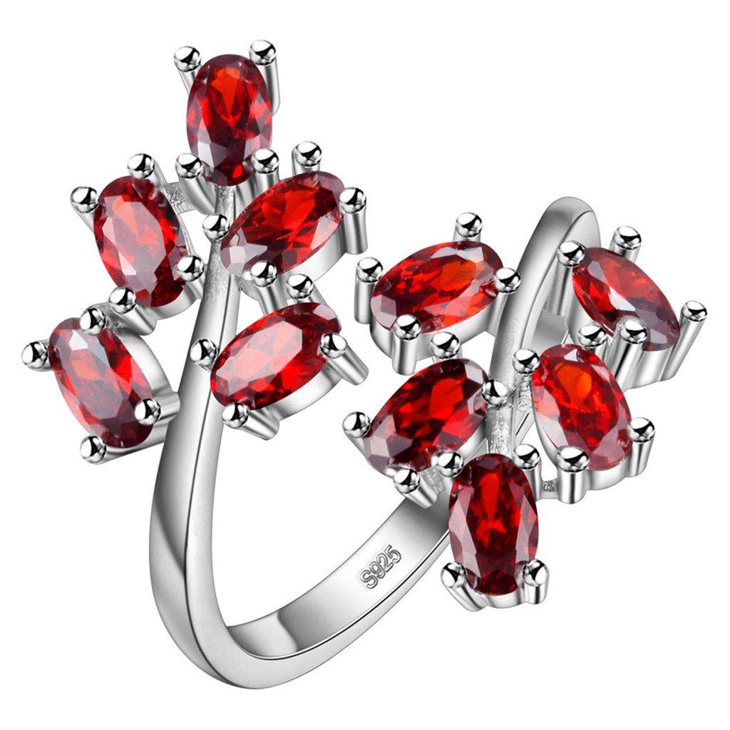 dise/ño tipo rama Anillo abierto ajustable chapado en plata de ley S925 con circonita y cristales de rub/í HMILYDYK