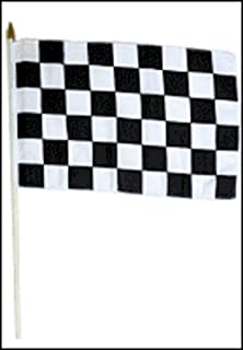 AES 12'x18' Black and White Checker Checkered Stick Flag Wood Staff Premium Vivid Color and UV Fade Best Garden Outdor Resistant Canvas Header and Polyester Material Flag