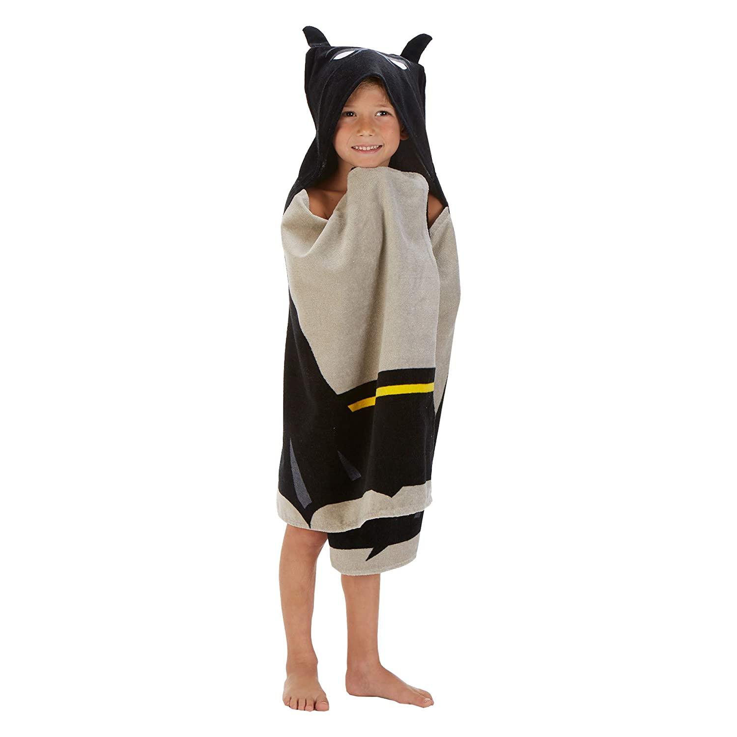 "Warner Bros Batman Soft Cotton Terry Bath and Beach Hooded Towel Wrap 24/"" x 50/"" Black//Grey"