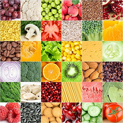 (LFEEY 5x5ft Fruits Vegetables Mosaic Backdrop for Photos All Kinds of Healthy Food Fruit Cereal Pattern Backgrounds for Photography Kids Adults Party Events Decoration Wallpaper Photo Studio Props)