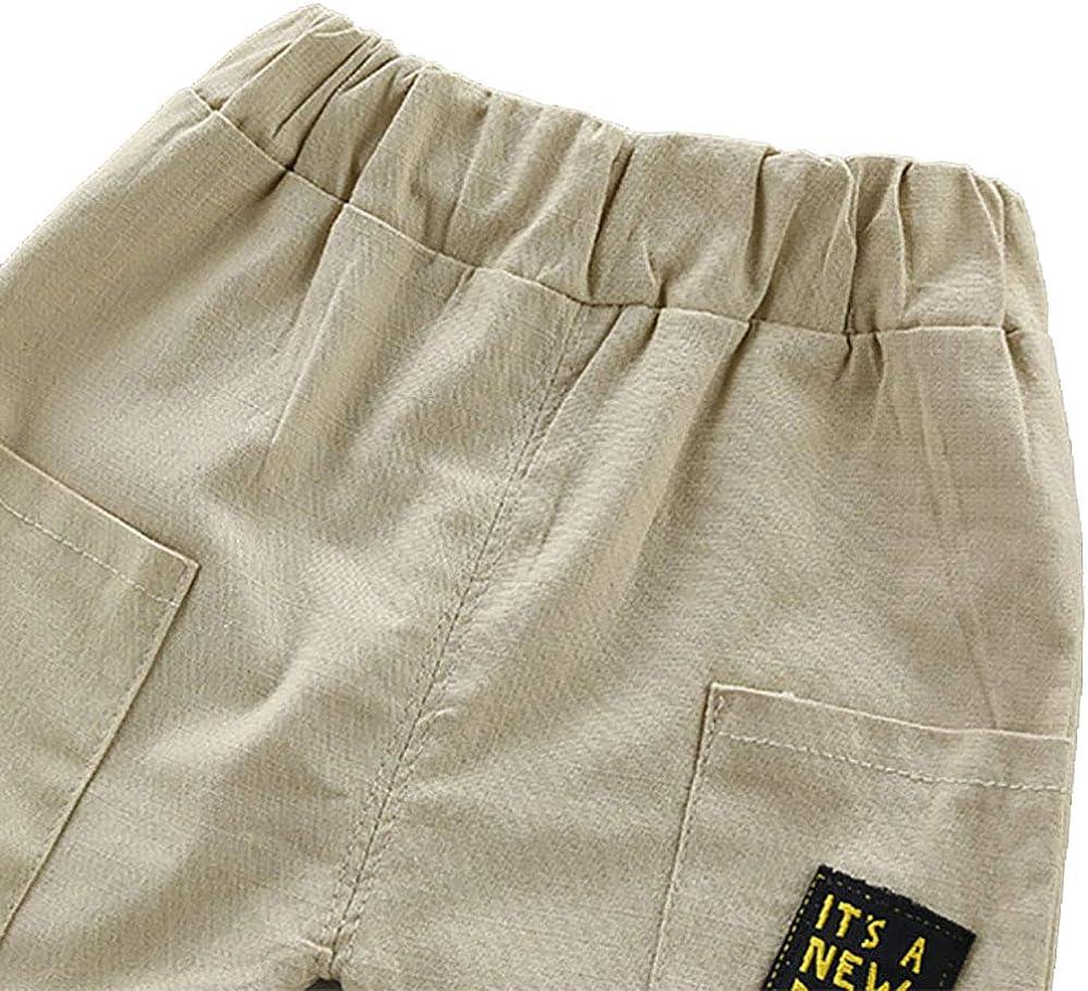 Gamins Garcons Coton Chemise /à Motifs T-Shirt Manches Courtes avec Un Short Elastique pour 6Mois-4Ans Baywell Ensemble B/éb/és Gar/çons /Ét/é