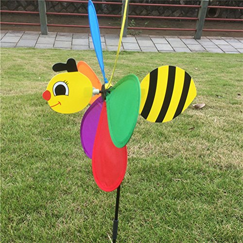 Stake Garden 3d Metal (OTGO 1Pc 3D Large Animal Windmill Wind Spinner Whirligig for Your Lawn Yard Garden Party Decoration (Type:bee))