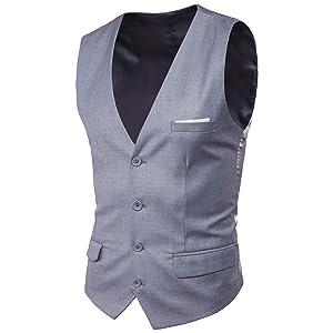 Blissmall ジレ ベスト メンズ フォーマル 結婚式 紳士 スリム スーツ仕立て スーツベスト 上質 尾錠付き BB20 (M, グレー)