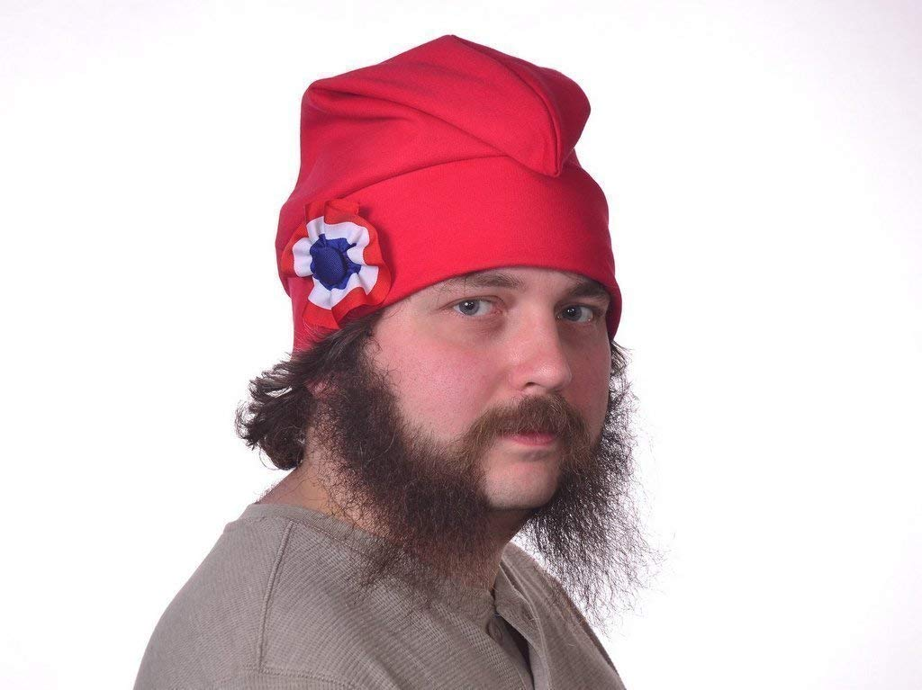 Red Phrygian Cap with Red White and Blue Cockade Liberty Hat