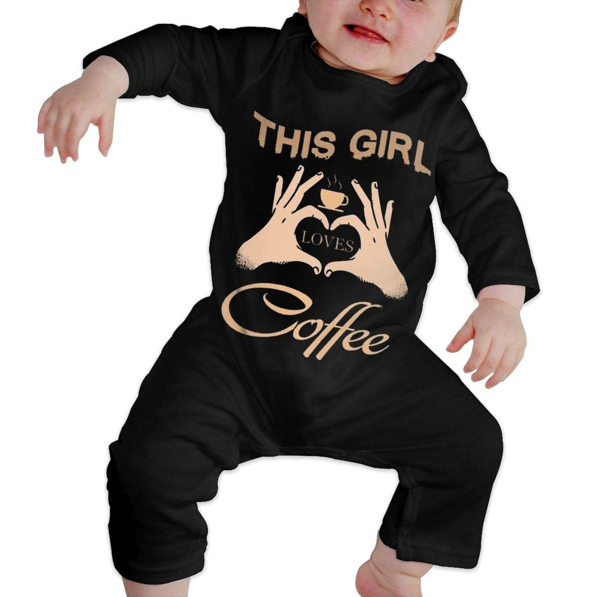 Gary Katte This Girl Loves Coffee Newborn Jumpsuit Infant Baby Girls Long-Sleeve Bodysuit Playsuit Outfits ClothesBlack