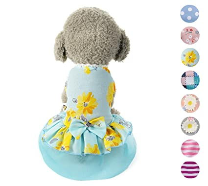0c41d12859 Alroman Floral Pet Clothes with Bow Tie Blue Dog Dresses Doggie Harness  Dresses Princess Puppy Dresses