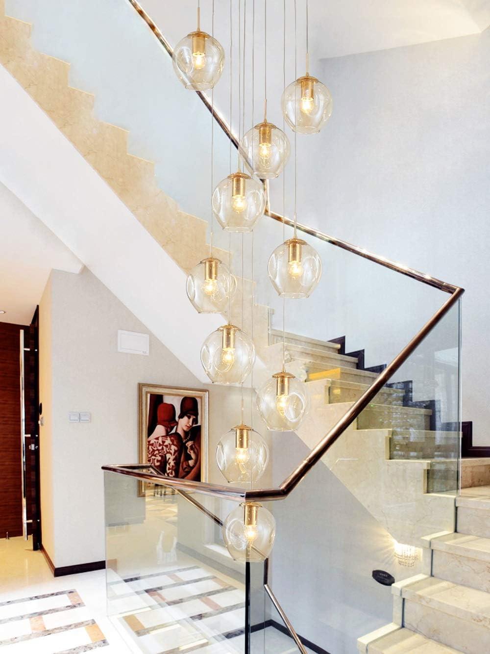 Lámpara de cristal de hotel Lámpara colgante de escalera de caracol Luces colgantes largas Villa creativa Sala de estar hueca Escalera dúplex simple moderna Lámpara de hotel,Cognac,10lights: Amazon.es: Hogar