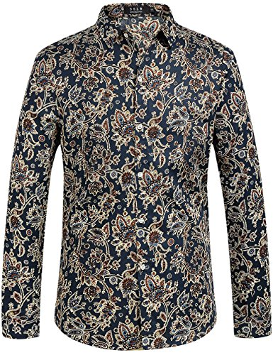 Paisley Design Shirt (SSLR Men's Paisley Printed Regular Fit Long Sleeve Casual Button Down Shirt (4X-Large, Navy))