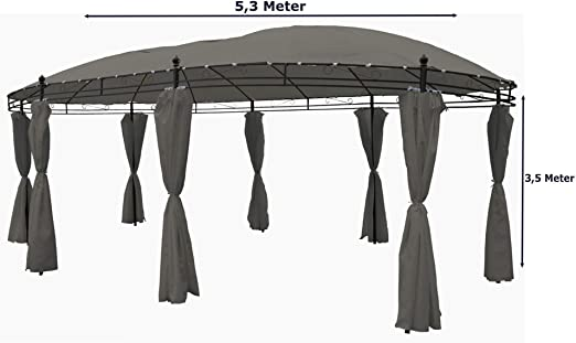 Cenador ovalado 5, 3 x 3, 5 m Steingrau Incluye laterales: Amazon.es: Jardín