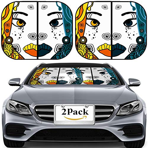 MSD Car Sun Shade for Windshield Universal Fit 2 Pack Sunshade, Block Sun Glare, UV and Heat, Protect Car Interior, Set of Two Vector Halloween Woman Cartoon Portraits Party Background for Text]()