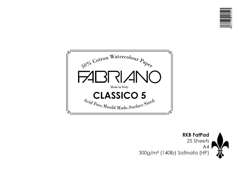 RKB FAT pad Fabriano 5 A4, 300 g/mq, 25 fogli, (63502,88 g 140lb)-Blocco per pittura ad acquerello