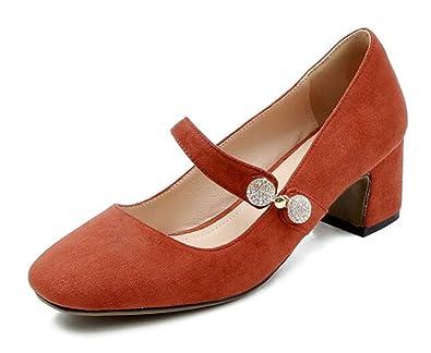 Easemax Damen Elegant Quadratisch Zehe Strass Schnalle High Heels