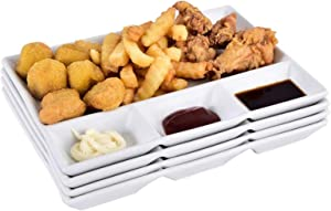 Singkasa Porcelain Partition Plate Fast Food Plate Breakfast Plate Fruit Plate Western steak dish With Vinegar Sauce Dish, 4 Divided Fondue plates, 10x7.8 inch, White| set of 4