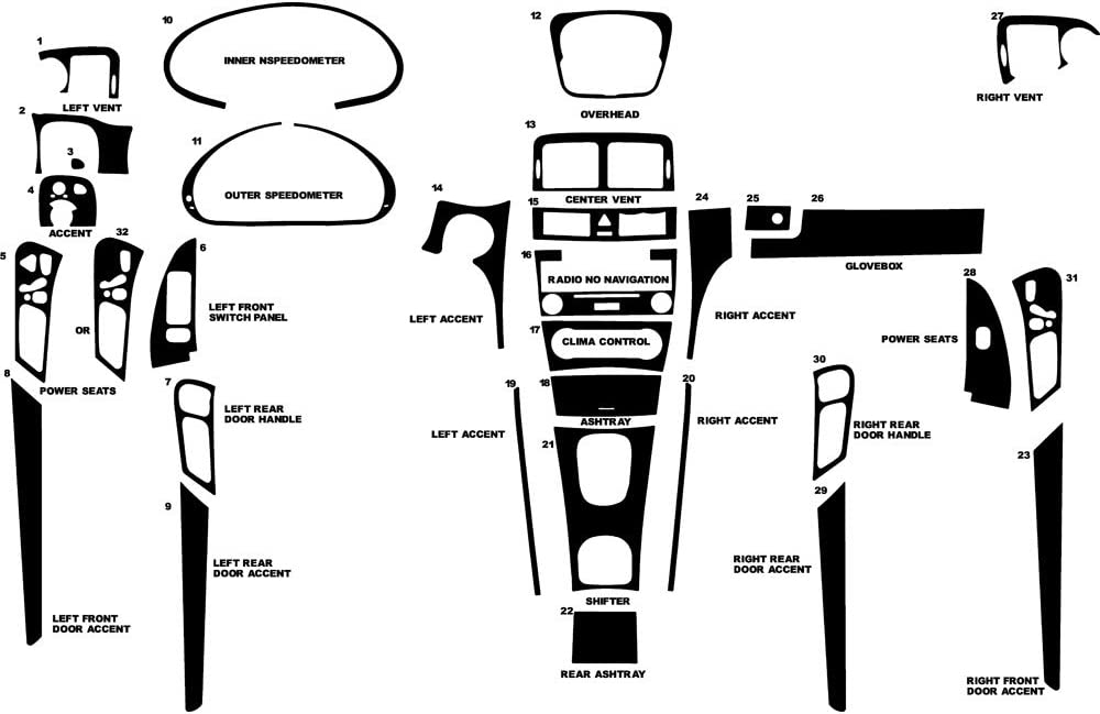 Rvinyl Rdash Dash Kit Decal Trim for Mercedes-Benz C-Class 2005-2007 (Sedan) - Leather (Black)