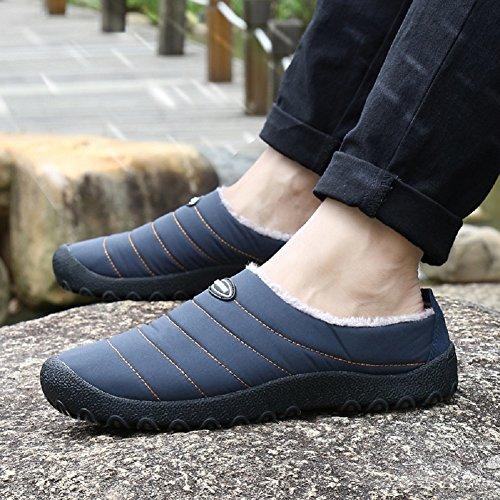 Chaussons De Femmes Bleu Chaussure Coton Bottines Fermé Chaussures Hommes De Imperméable Neige 1 Chaudement Hiver Antiderapant Fluffy gEw6Erxq