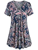 MOQIVGI Short Sleeve Tops for Women, Chic Pretty Comfy Slimming Trapeze Vneck Shirts Unique Sexy Elegant Flowing Flattering Blouse Ladies Casual Boutique Swing Tunics Multicoloured Navy Blue Large