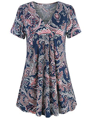 Work Blouses for Women Office,MOQIVGI Ladies Trendy Career Business Casual Tunic Nice Professional Dressy Shirt Simple Boho Floral Pattern Flowing Tops for Leggings for Women Multicoloured Navy Blue X
