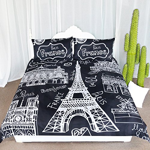 Paris Eiffel Tower Collage Scene Duvet Cover Set 3 Pieces Chic Black and White French Style Bedspread Bedding Set (Full)