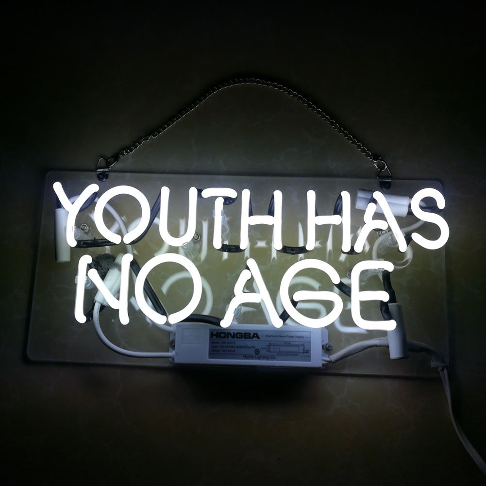 Mugua Beer Neon Sign 'Youth Has No Age' 14'' x 10'' for Bar Bedroom Garage Game Room