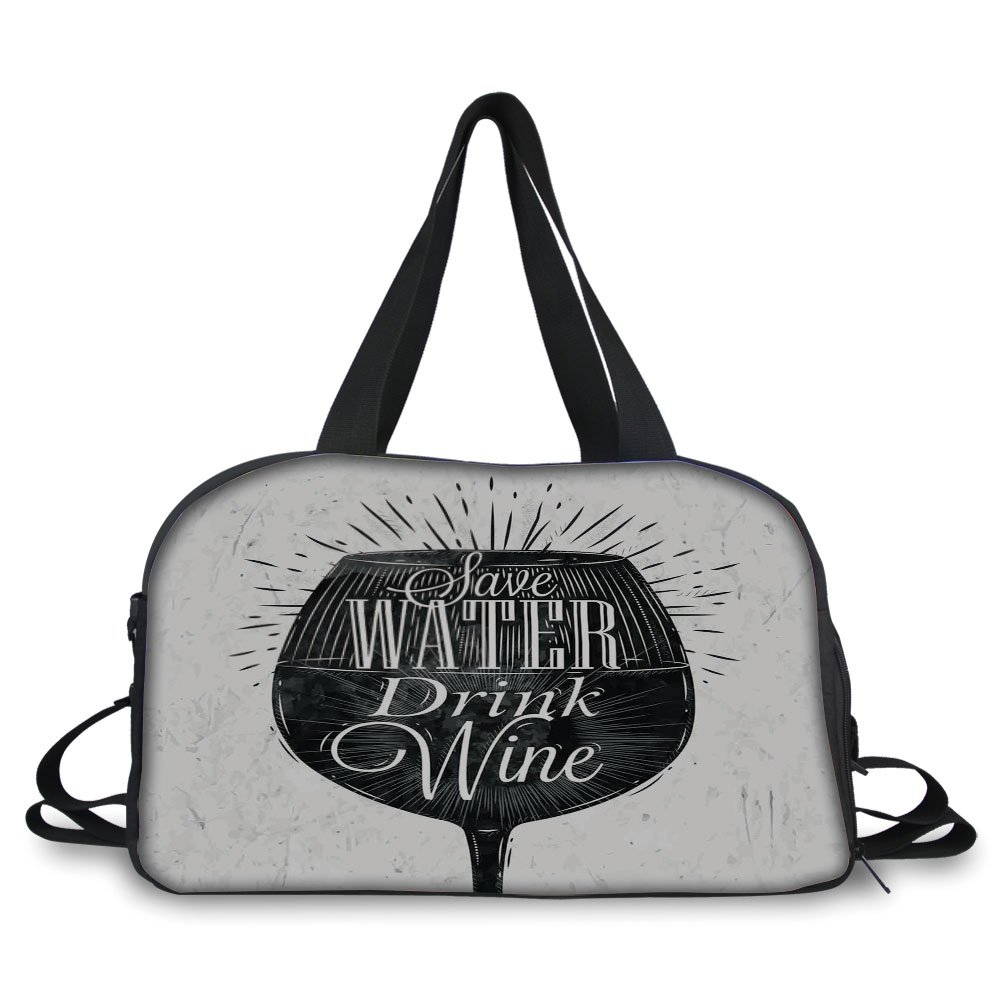 iPrint Travelling bag,Kitchen Decor,Save Water Drink Wine Quote Wine Glass Cafe Decor Chalkboard Style Retro,Black White ,Personalized