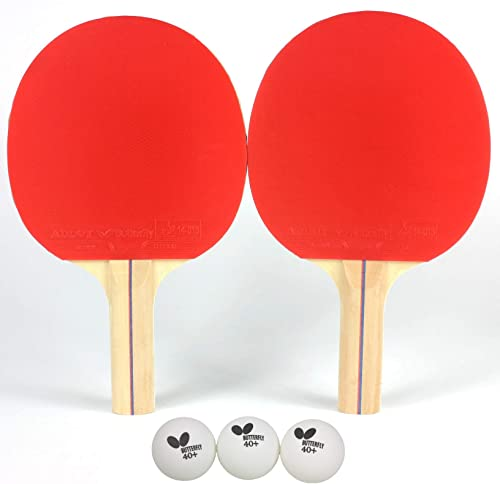 Butterfly RDJ2 2 Player Ping Pong Paddle Set Includes 2 Ping Pong Rackets and 3 Ping Pong Balls Ping Pong Paddle Set of 2 Ping Pong Paddles and Balls Table Tennis Paddle Set