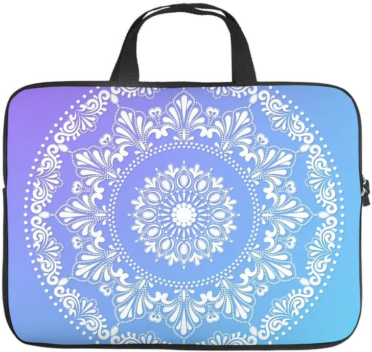 Fashion Laptop Bag Blue White Mandala Graphic Laptop Sleeve Water Resistant Neoprene Laptop Protective Bag for Teen Students White 17inch