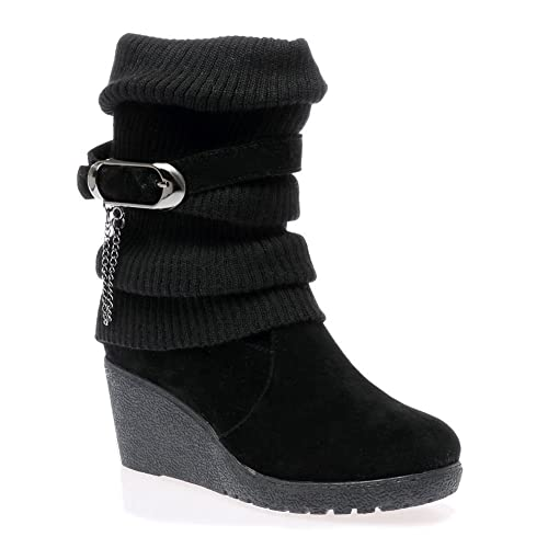 bb21aa59708 LADIES WOMENS MID HIGH WEDGE HEEL KNITTED WARM WINTER SLOUCH BIKER KNEE  CALF ANKLE BOOTS SIZE