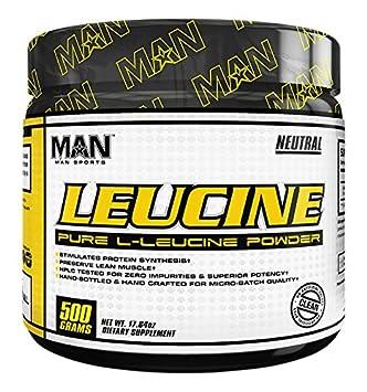 MAN Sports 100 Pure L-Leucine Powder, Neutral, 500 Gram
