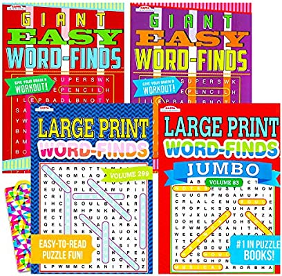 Amazon.com: Word Find Puzzle Books For Adults Seniors - Set Of 4 Jumbo Word  Search Books With Large Print (Over 380 Pages Total With Bookmark): Home &  Kitchen