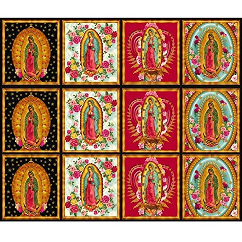 Robert Kaufman Inner Faith Metallic Mary Statues Bright 24in Panel Multi Fabric,